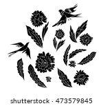 set of fantasy flowers  leaves...   Shutterstock .eps vector #473579845