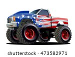 cartoon monster truck.... | Shutterstock .eps vector #473582971