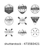 set of vintage rafting logo ... | Shutterstock . vector #473583421