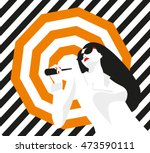 fashion girl with an umbrella.... | Shutterstock .eps vector #473590111