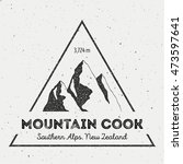 Cook in Southern Alps, New Zealand outdoor adventure logo. Triangular mountain vector insignia. Climbing, trekking, hiking, mountaineering and other extreme activities logo template.
