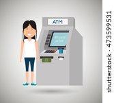 woman atm money credit vector... | Shutterstock .eps vector #473599531