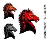 aggressive mustang horse mascot ... | Shutterstock .eps vector #473600125
