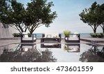 outdoor living villa and sea... | Shutterstock . vector #473601559