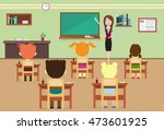 school lesson pupils and... | Shutterstock .eps vector #473601925