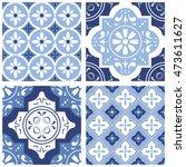 decorative tile pattern design. ... | Shutterstock .eps vector #473611627