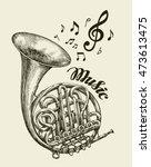 hand drawn musical french horn. ... | Shutterstock .eps vector #473613475