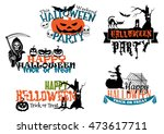 happy halloween posters and... | Shutterstock . vector #473617711