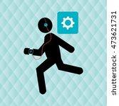 running sport headphones... | Shutterstock .eps vector #473621731