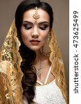 beautiful girl in indian style... | Shutterstock . vector #473625499