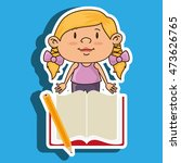 kid with book and pencil... | Shutterstock .eps vector #473626765