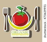 healthy vegetarian food label... | Shutterstock .eps vector #473629951