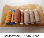 spools brown thread on fabric  | Shutterstock . vector #473634265