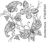 hand drawn flowers and artistic ... | Shutterstock .eps vector #473639365