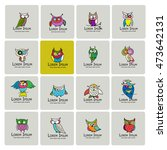 set of funny owl collection for ... | Shutterstock .eps vector #473642131