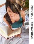 beautiful woman in bed room...   Shutterstock . vector #47364802