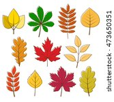 collection of autumn colored... | Shutterstock . vector #473650351