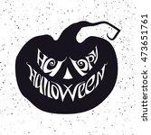 happy halloween card with... | Shutterstock .eps vector #473651761