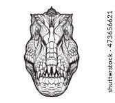 tyrannosaurus head on white...   Shutterstock .eps vector #473656621