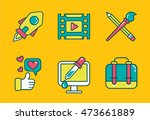 bright flat icon set with...