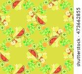 seamless pattern of fruit... | Shutterstock .eps vector #473662855