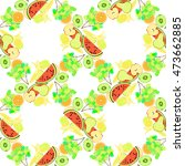 seamless pattern of fruit... | Shutterstock .eps vector #473662885