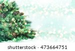 christmas background with snowy ... | Shutterstock . vector #473664751