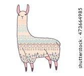 vector cute llama illustration. ...   Shutterstock .eps vector #473664985