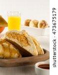 brazilian snack. chicken esfiha ... | Shutterstock . vector #473675179