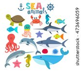 vector set of sea creatures....