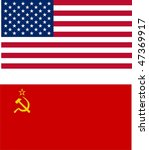 cold war - USA vs USSR flags - isolated illustration - stock photo