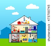 house in cut. detailed modern... | Shutterstock .eps vector #473700745