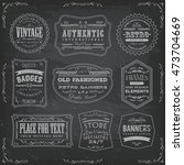 vintage labels ans signs on... | Shutterstock .eps vector #473704669