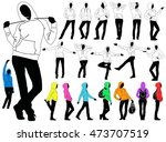 set of black silhouettes of... | Shutterstock .eps vector #473707519