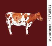 brown cow on a brown background | Shutterstock .eps vector #473725531