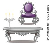 vintage table with candle and... | Shutterstock .eps vector #473751091