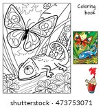 butterfly and chameleon.... | Shutterstock .eps vector #473753071