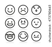 set of round emoticon smile... | Shutterstock . vector #473780665