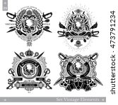 skull front view with vintage... | Shutterstock .eps vector #473791234