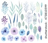 vector flower wreath. elegant... | Shutterstock .eps vector #473810599