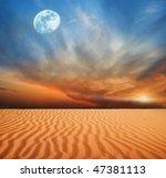 Magnificent Moon Above A Desert