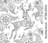 coloring page with beautiful... | Shutterstock .eps vector #473813041