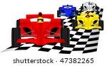race cars over checkered flag | Shutterstock .eps vector #47382265