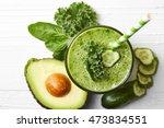 glass of green vegetable... | Shutterstock . vector #473834551