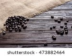 coffee beans with sack on... | Shutterstock . vector #473882464