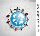 vector businessman handshake... | Shutterstock .eps vector #473915491