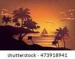 sunset tropical sea landscape ...
