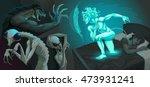 fighting scene between my... | Shutterstock .eps vector #473931241