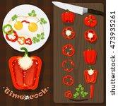 set chopped peppers  eggs ...   Shutterstock .eps vector #473935261