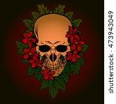 tattoo design skull in flower... | Shutterstock .eps vector #473943049